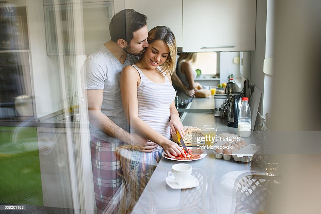 Romantic couple enjoying breakfast and romance on weekend morning. : Stock Photo