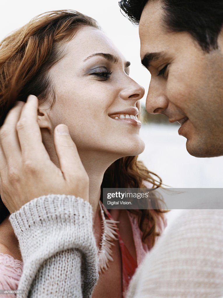 Romantic Couple Face to Face : Stock Photo