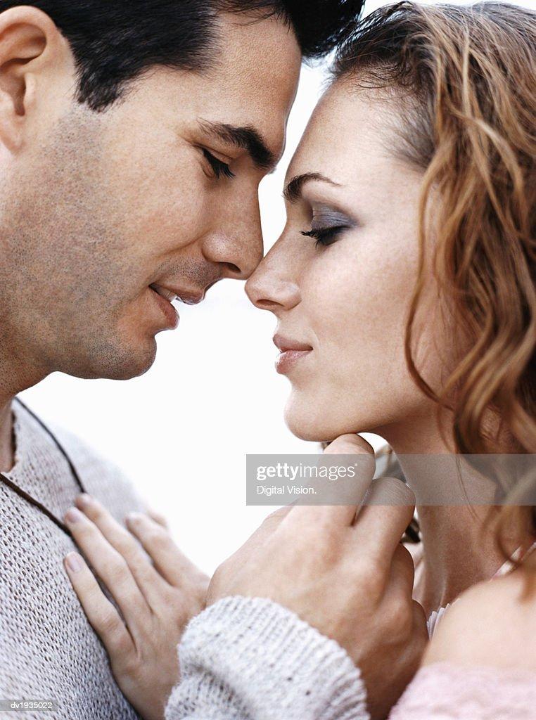 Romantic Couple Face to Face : Stock Photo