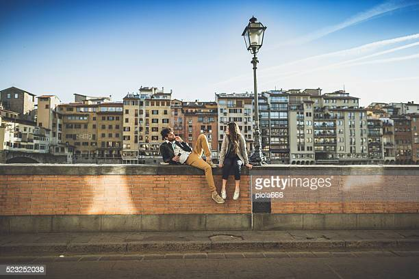 Romantic couple in Firenze near Ponte Vecchio