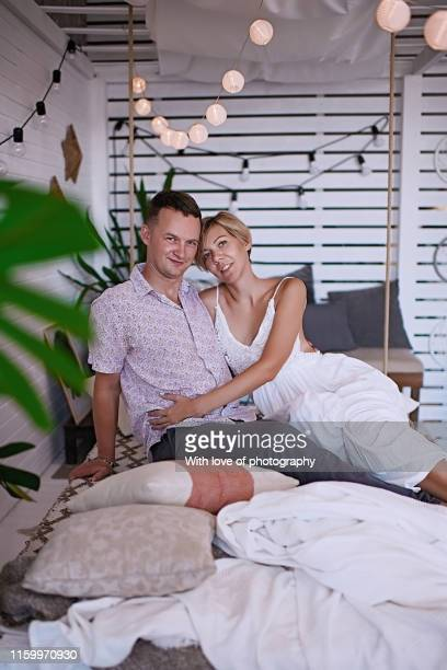 romantic couple in love, hugging and kissing, happy loving couple, male and female young adult, 30-39 years old - 30 39 years ストックフォトと画像