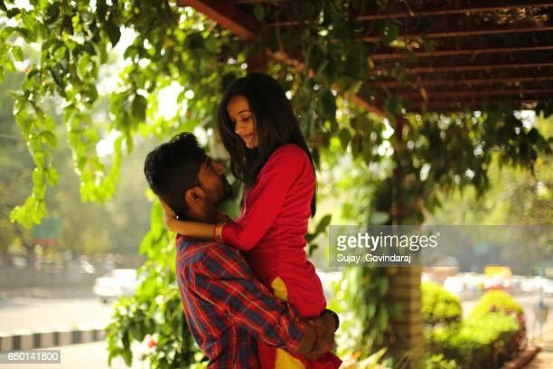 Romantic Couple in the Public Place