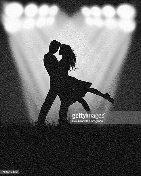 Romantic couple in the rain