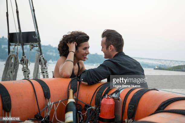 Romantic Couple on a Sailboat