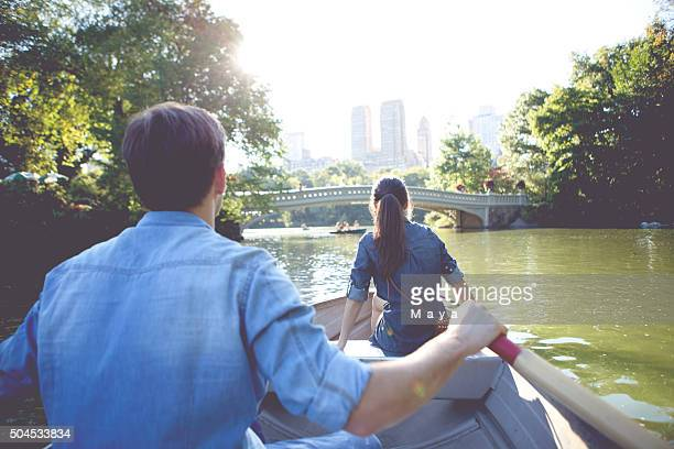 romantic couple on boat - central park stock pictures, royalty-free photos & images