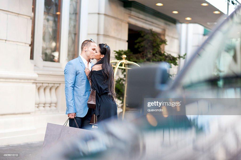 Romantic Couple on the Sidewalk : Stock Photo