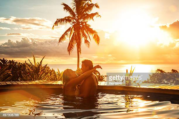 romantic couple on vacation - erotische stockfoto's en -beelden