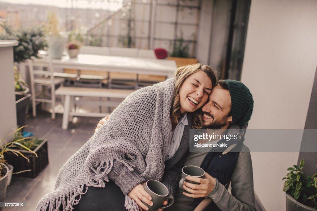 Romantisches Date auf unserer Dachterrasse : Stock-Foto