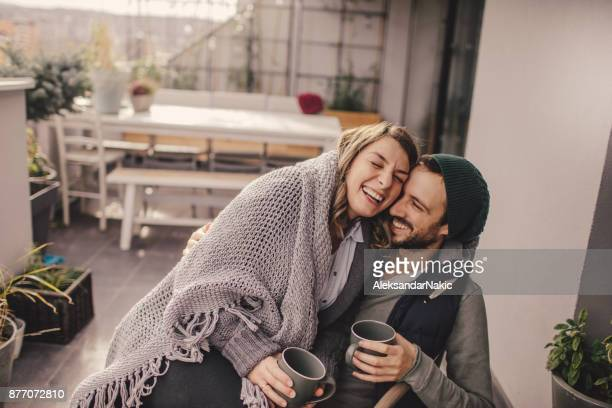 romantic date on our rooftop garden - pregnant coffee stock pictures, royalty-free photos & images