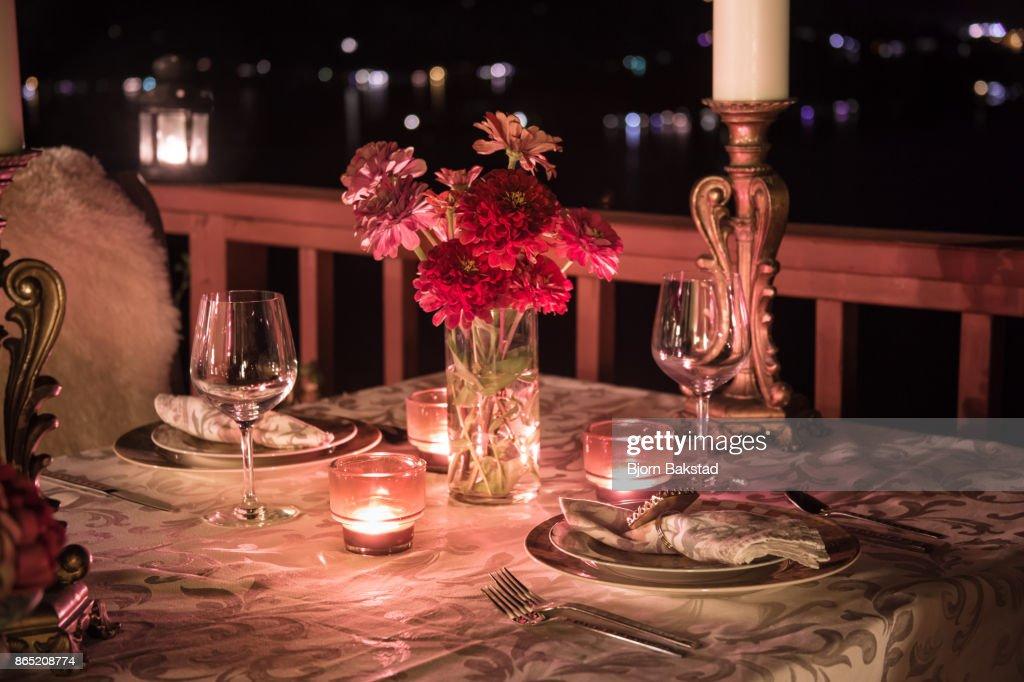 Romantic Dining at Night : Stock Photo