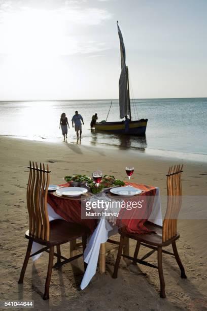 Romantic Dinner on Beach at Benguerra Lodge