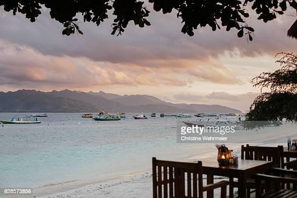 Romantic Dinner View on Gili Trawangan Beach at Sunset