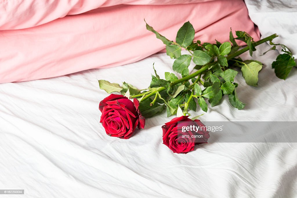 Romantic getaway with red roses on bed : Stockfoto