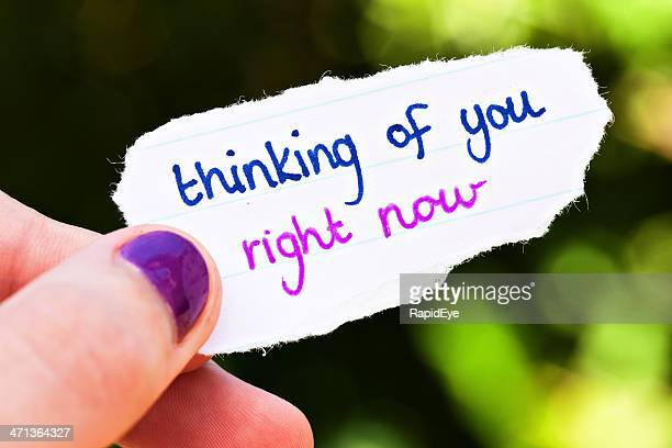 romantic hand-drawn message: thinking of you right now - thinking of you card stock pictures, royalty-free photos & images