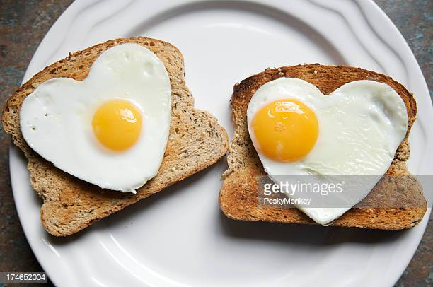 Romantic Healthy Breakfast Two Hearts on Toast