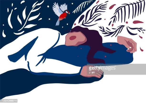 romantic illustration of a sleeping young woman with rosy cheeks. - junge frau rätsel stock-fotos und bilder