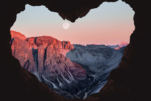 Romantic landscape with heart shape of the Alps mountains with full moon. - gettyimageskorea