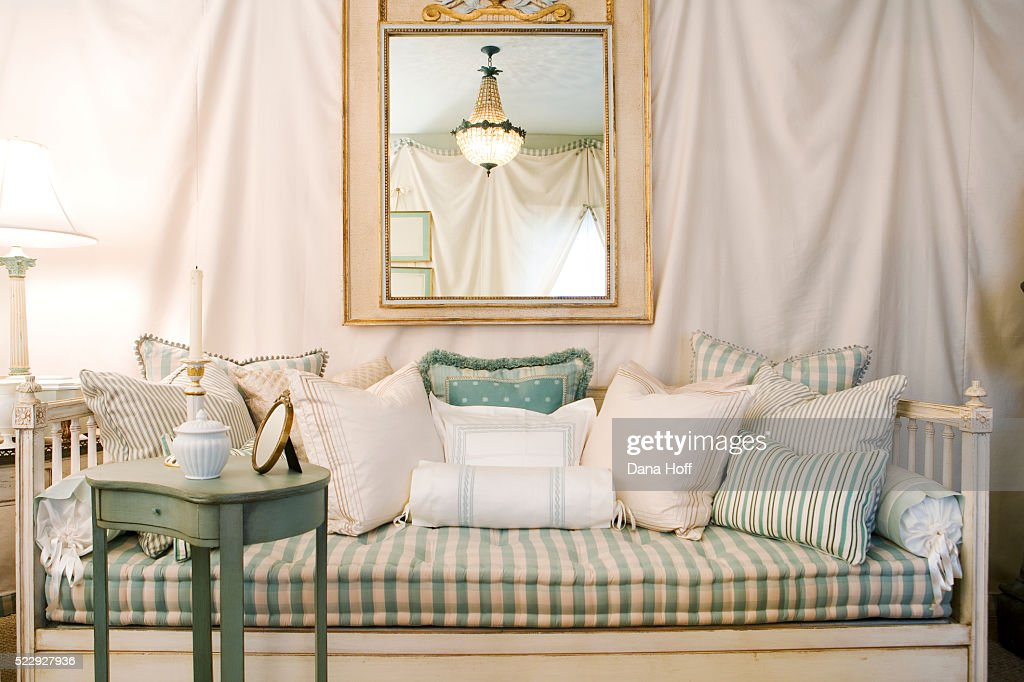 Romantic Living Room with Fabric-Draped Walls : Stock Photo