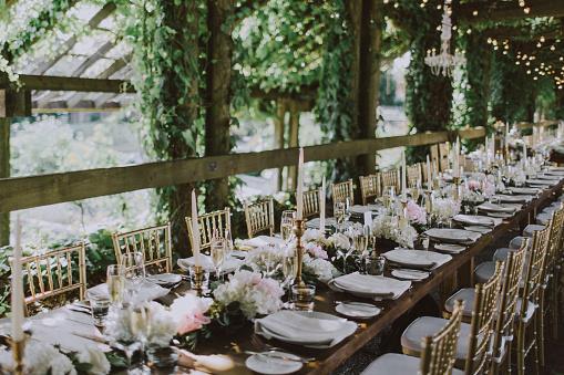 Romantic long table Wedding decor - gettyimageskorea