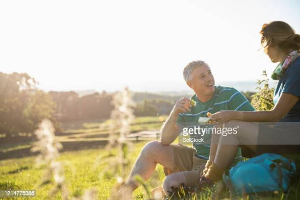 romantic lunch with a view - picnic stock pictures, royalty-free photos & images