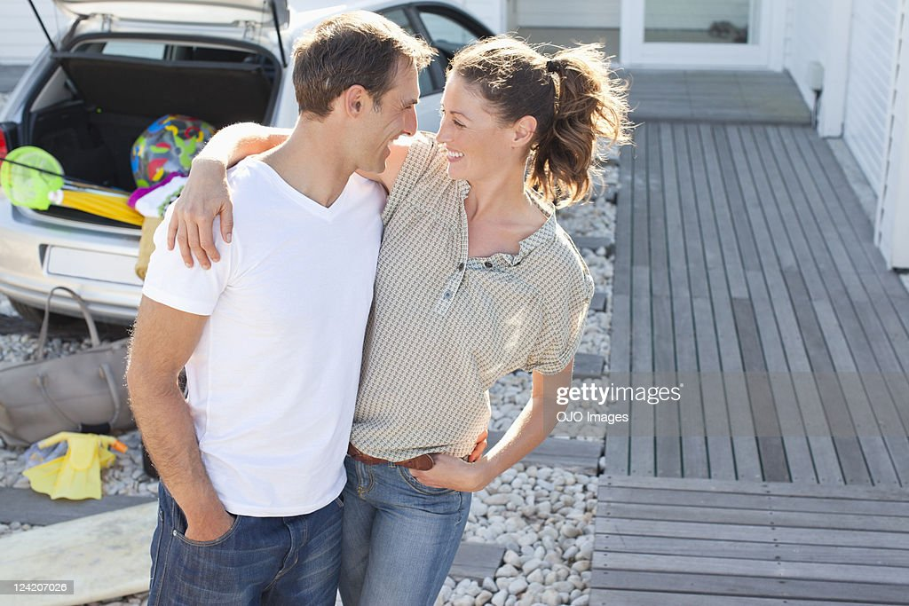Romantic mid adult couple having fun on vacation : Stock Photo