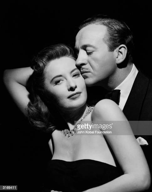 A romantic moment between Barbara Stanwyck and David Niven in the roles of Karen Duncan and Doctor Anthony Stanton in the film 'The Other Love'...