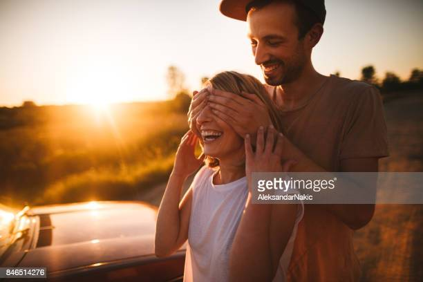 romantic moments in sunset - hands covering eyes stock pictures, royalty-free photos & images