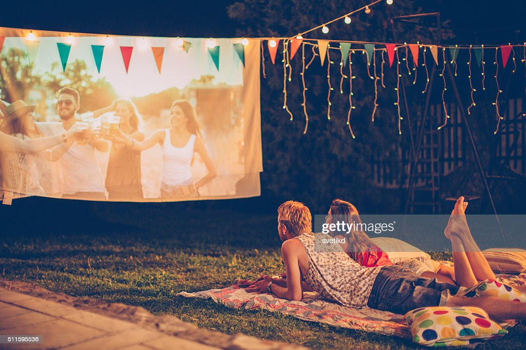 Romantic movie night : Stock Photo