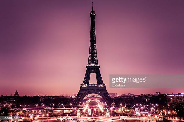 romantic paris with tour eiffel - paris stockfoto's en -beelden