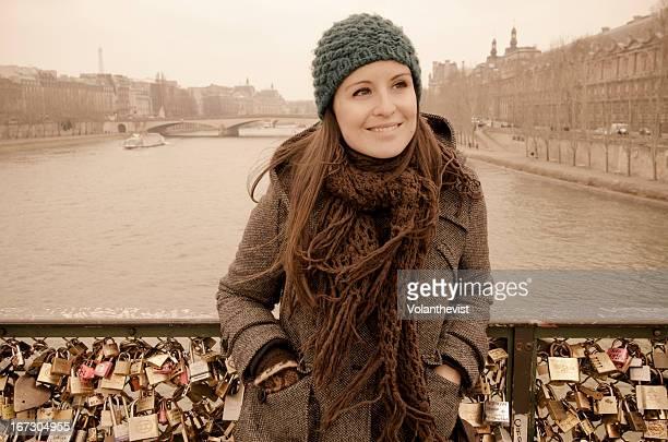 Romantic Paris - woman w/ woolen cap in winter