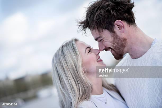 Romantic portrait of a loving couple kissing