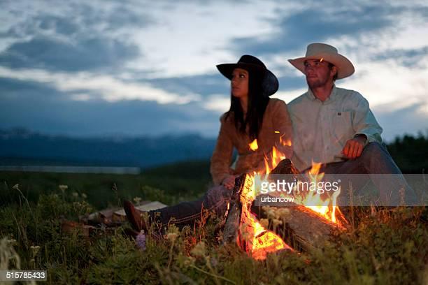 Romantic ranch campfire