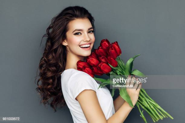 romantic roses for lady - red roses stock pictures, royalty-free photos & images