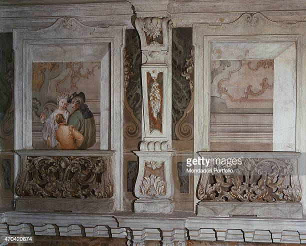 'Romantic Scene by Francesco Zugno c 1770 18th Century fresco Italy Lombardy Brescia Teatro Grande Whole artwork view Two architectural frames with...