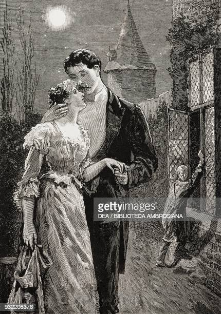 Romantic scene under the moonlight from the novel A bit of human nature by David Christie Murray engraving from a drawing by Percy Macquoid...
