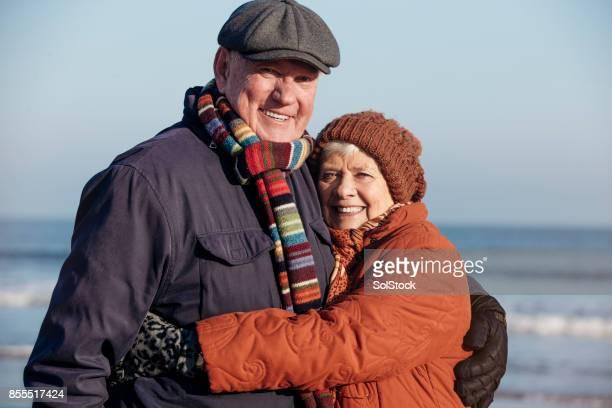 Romantic Senior Couple on the Coast
