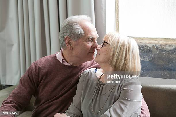 Romantic senior couple