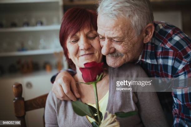 romantic senior couple - wife stock pictures, royalty-free photos & images