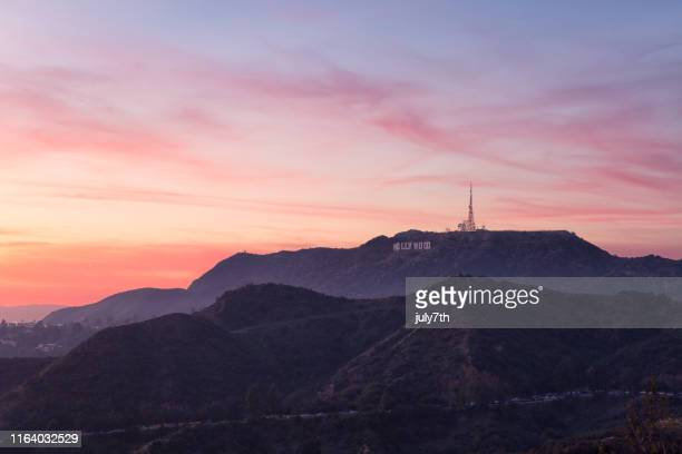 romantic sky over mount lee - hollywood hills stock pictures, royalty-free photos & images