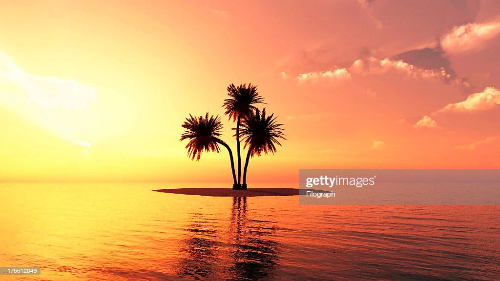Romantic Summer Beach Sunset Stock Photo
