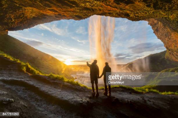 romantic sunrise with love in iceland - seljalandsfoss - islanda foto e immagini stock