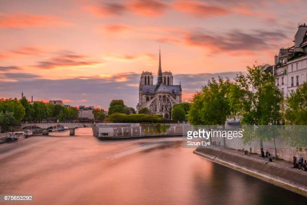 romantic sunset over the notre-dame cathedral in paris, france. - fluss seine stock-fotos und bilder