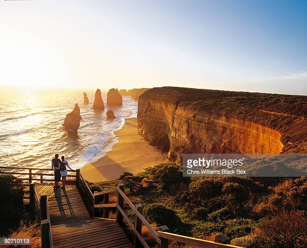 romantic sunset over the sea. - australia stock pictures, royalty-free photos & images