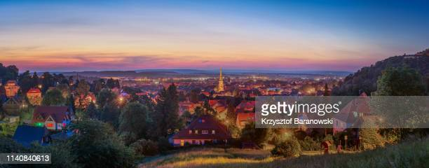 romantic sunset over wernigerode - saxony anhalt stock pictures, royalty-free photos & images