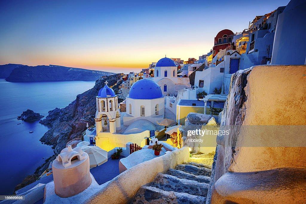 Romantic travel destination Oia village, Santorini island, Greece : Stock Photo