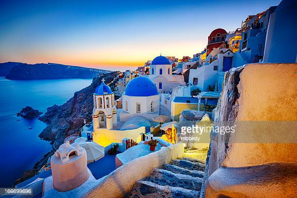 romantic travel destination oia village, santorini island, greece - greece stock pictures, royalty-free photos & images