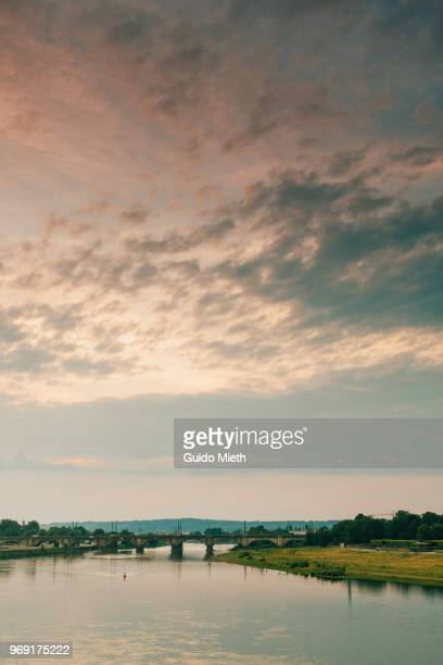 Romantic view at the river Elbe, Dresden, Germany.
