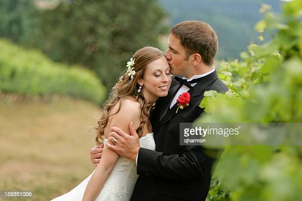 Romantic View of Husband Kissing His Wife
