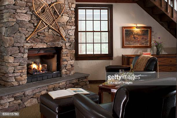 Romantic vignette of Jacuzzi and guestroom Inn at Lake Joseph Forestburg NY