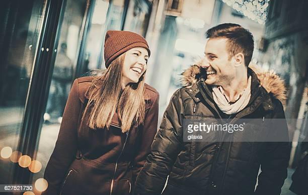 Romantic walk on a cold winter night.